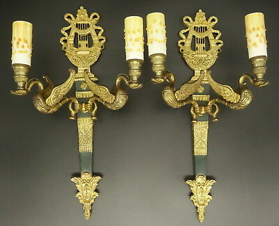 Pair Of Large Sconces Lyre & Swans Decor, Empire Style - Bronze - French Antique