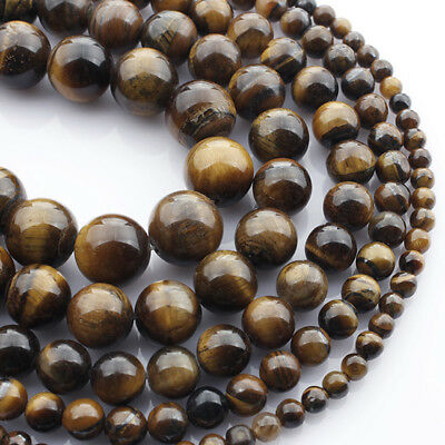 Wholesale Natural Tiger's Eye Gemstone Round Beads 15.5'' 4mm 6mm 8mm 10mm 12mm