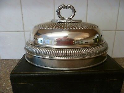 An Antique Large Oval, Repousse Silver Plate On Copper Meat Cover / Meat Dome