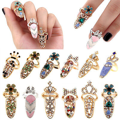 Women Fashion Bowknot Nail Ring Charm Crown Flower Crystal Finger Nail Rings VP