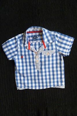 Baby clothes BOY 3-6m short sleeve, blue/white/red check cotton shirt SEE SHOP!