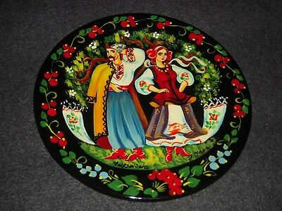 Ukraine Russia Wall Plate Hand Painted Lacquer Wood Figures Excellent Signed