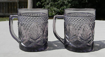 2 Antique Durand Luminarc Amethyst Purple Glass MUGS Cups 10 oz