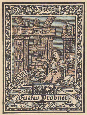 Paul VOIGT Germany 1859–1924 Drucker exlibris Printer Bookplate 1900