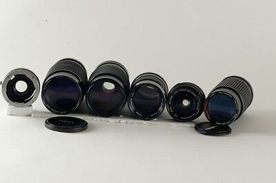 Set / Lot of Five Pentax K-Mount Lenses of Various Brands. Sold AS-IS