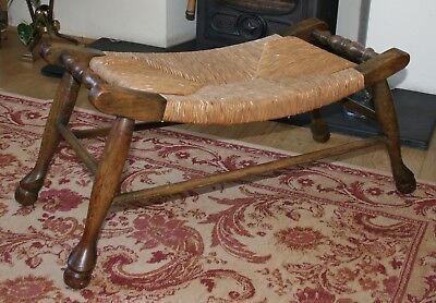 Antique French Ash & Oak Curved Rush Seated Stool C1895
