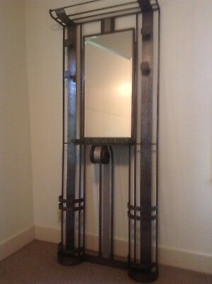 French Art Deco Coat Rack/Umbrella Stand with Mirror and Marble Shelf