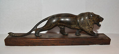 1920s WOODEN HANDCARVED LION FIGURINE FROM INDIA #1226