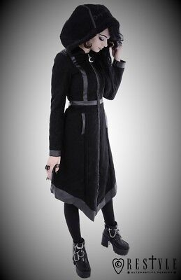 Restyle Gothic Punk Emo Black Vegan Asymmetric Witch Coat with Pockets for Women