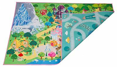 Kids double sided felt play mat - 2 in 1 princess  town, indoor/outdoor, machine