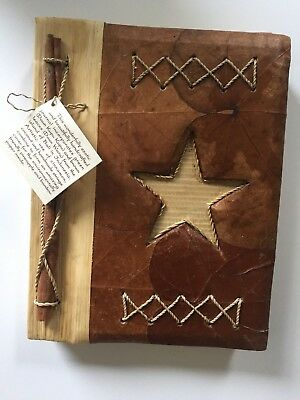 Unique Leaf Notebook Journal Hand Crafted Bali Star Natural Fibers Eco Friendly