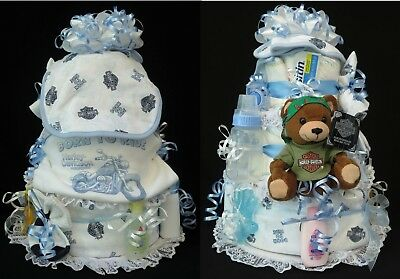 Harley Davidson Blue Baby Shower Diaper Cake Outfit Bib Blanket Manifold Max Toy