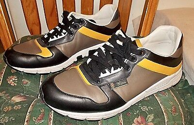 accc6199d MEN'S GUCCI LEATHER Trainers Sneakers Size 9.5 US Brown & Black ...