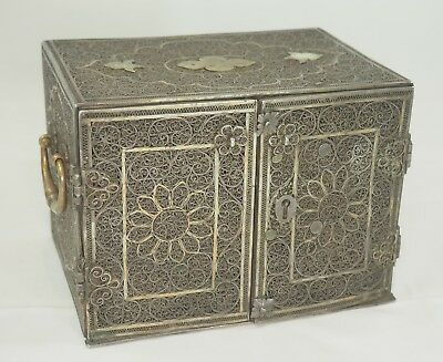 Antique Persian Iranian Sterling Silver & Brass Hand Made Jewelry Box