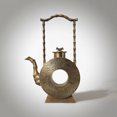 Exquisite Chinese Bronze Teapot Ware Unique Shape Marks DaoGuang Qing Period