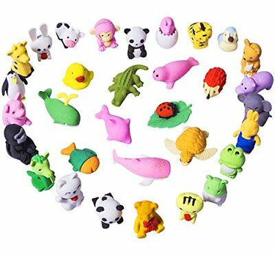 32 Pcs Novelty Animal Erasers For Kids Mini Take Part Japanese Toys Gifts Party