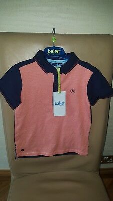 Boys Ted Baker Orange Navy Blue Striped Shirt Top Age 18-24 Months New
