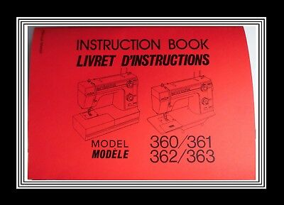 JANOME NEW HOME Model 360 361 362 363 sewing machine instructions Manual Booklet