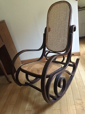 Antique Rocking Chair Bentwood Caning