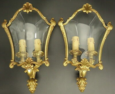Pair Of Sconces At Screen, Louis Xv Style - Bronze & Glass - French Antique
