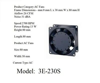 Model: 3E-230S. 230V AC 2 Lead Wires Ball Bearing Axial Fan-80x80x38mm