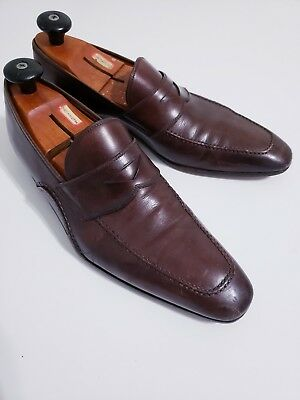fb4a332a4f6 9.5M Magnanni made in Spain brown penny loafers leather slip on men dress  shoes