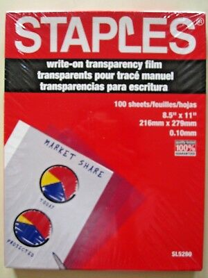 "Staples SL5260 Write-on Transparency Film 100 Sheets - 8.5"" X 11""  FREE SHIPPING"