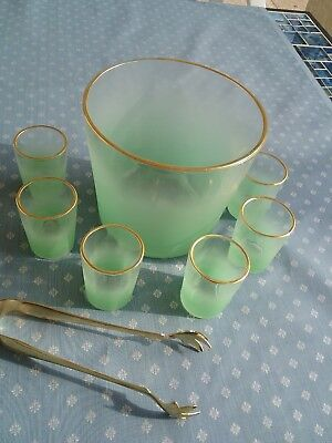 Vintage Lime Green Frosted Glass Ice Bucket ,tongs And 6 Shot Glasses Blendo?