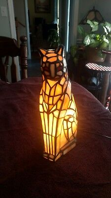 RARE Vintage ? Tiffany Style Large Stained Glass Adult Cat Lamp, Works, Red Eyes