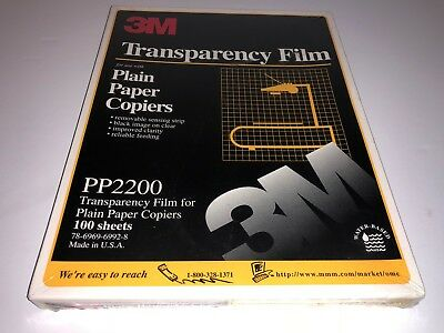 NEW 3M Transparency Film PP2200 for Plain Paper Copiers 100 Sheets