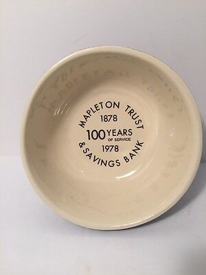 McCoy advertising mixing bowl Mapleton Trust and Savings Bank. Mapleton Iowa