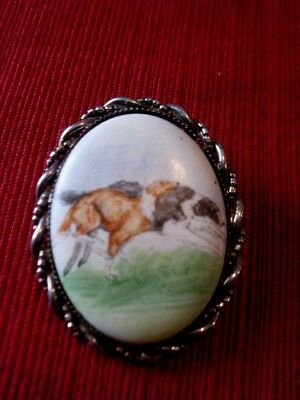 Vintage Hand Painted Greyhound Cameo Pendant Pin