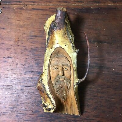 Amazing Antique Hand Carved Birch Wood Old Man Face Tree Spirit Garden Sculpture