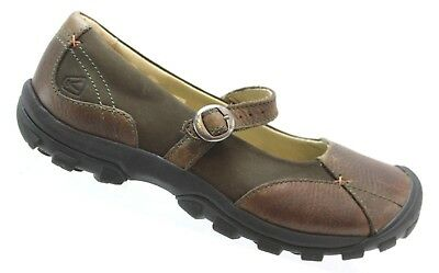 7d40a5a1659 KEEN Presidio II Womens Brown Leather Mary Janes Trail Hiking Walking Shoes  9 M