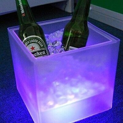 LED Ice Bucket Double RGB Colour Layer Square Bar KTV Beer Ice Bucket