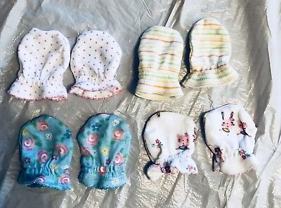 Lot of 4 Baby Mittens Newborn Clothes *FREE SHIPPING*