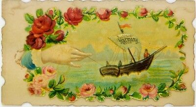 Circa 1880's Harmony Sewing Die Cut Embossed Colorful Victorian Trade Card