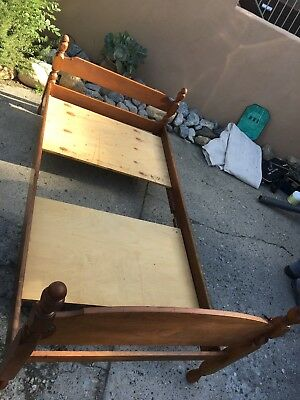 Set of 2 Antique / Vintage Solid Maple Wood Poster Twin Beds