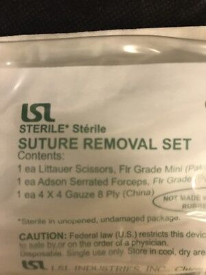 7109 LSL Suture Removal Kit w Littauer scissors, adson forceps, 4x4 gauze. - 1pc