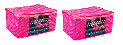 Cotton Saree Bag Garment Bed Covers Wardrob Organiser Storage cover 2 Pcs Pink