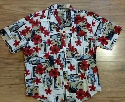Natural Issue Large Wrinkle Free Hawaiian Shirt Flowers Station Wagon Surf Board