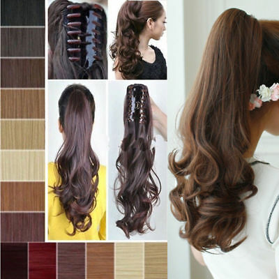 Real Thick Clip In Pony Tail Hair Extensions Claw Clip On Ponytail As Human US