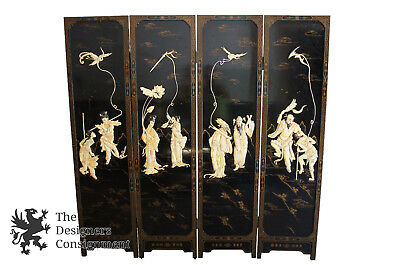 Antique Chinese Four Panel Screen Room Divier Soapstone Daoist Immortals 8 Xian