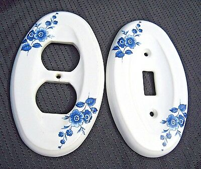 Set of 2 Vintage White Ceramic w/ Blue Flowers LIGHT SWITCH PLATE & OUTLET COVER