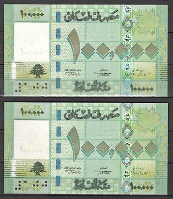 Lebanon, 2 Consecutive 100,000 Livres 2012, Replacement (UNC) Rare #349