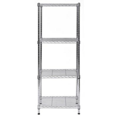 CHROME FINISH SHELVING UNIT 47 in H x 18 in W x 18 in D 4 Shelves Steel Wire NEW