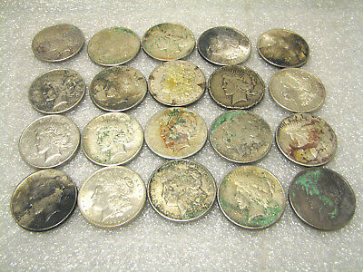 20 Pc Lot 1921 Morgan + Peace Silver US Dollars  $1 Coins Old Circulated Roll