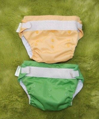 Bum Gennius Lot of 2 Reusable Diapers Green and Yellow No inserts