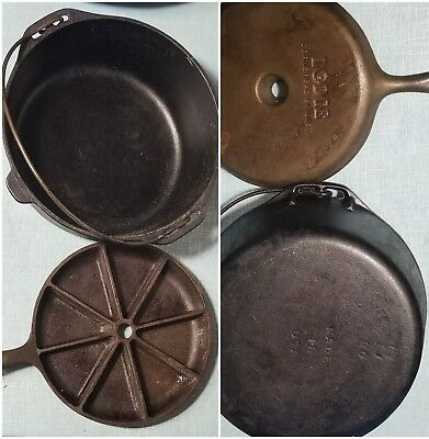 Vintage Lodge Cast Iron Dutch Oven Pot #8 DO Corn Bread Skillet Made in USA LOT