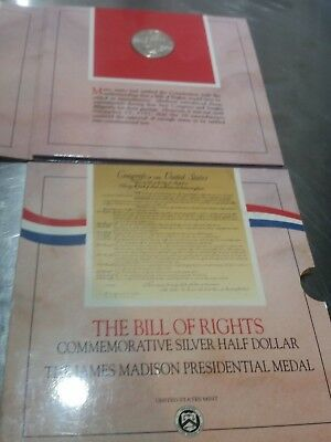 1993 The Bill of Rights Commemorative Silver Half Dollar / James Madison Medal